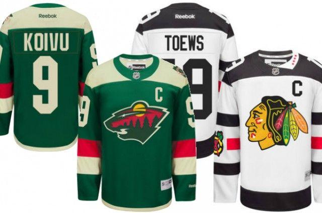 Wild and Blackhawks Stadium Series jerseys (via NHL Shop)