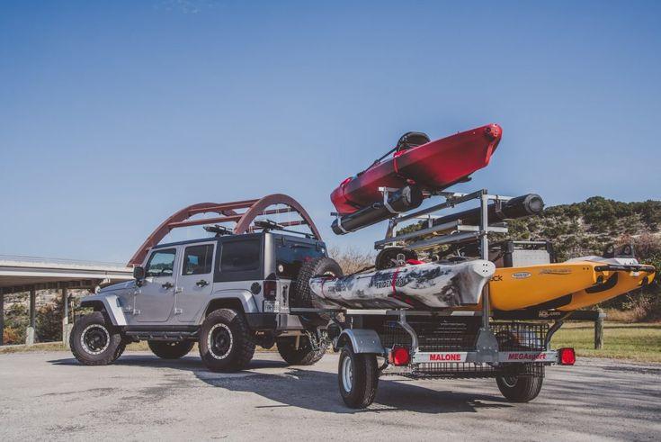 The Malone mega sport trailer setup for 3 kayaks.