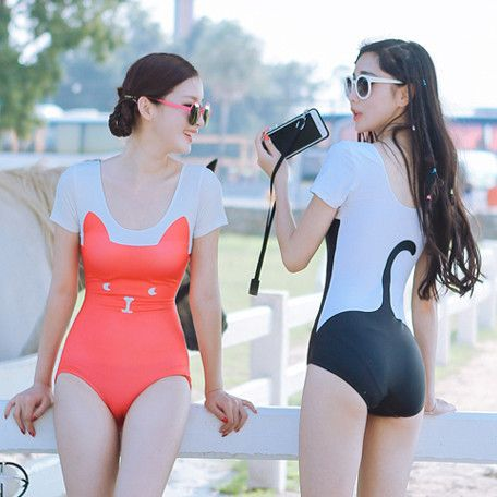 Cat Face and Tail Body Printed Swim Suit Swimsuit