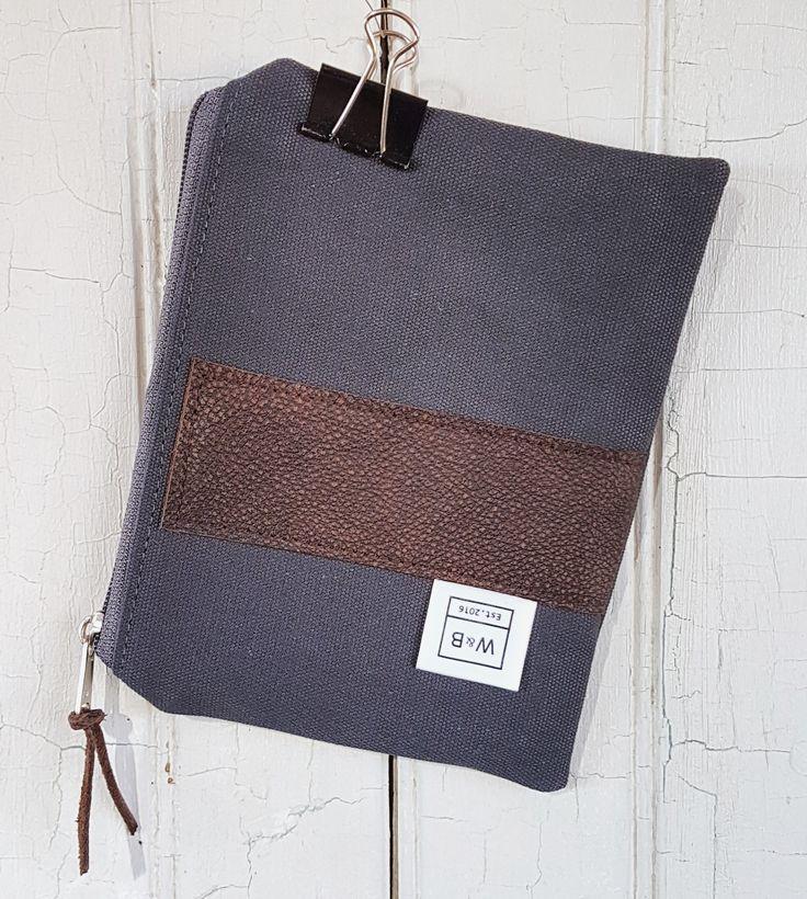 Zipper pouch - medium - Grey and Dark Brown - W & B