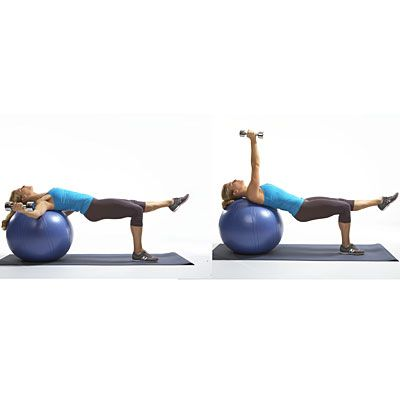 These Ball flies are better than push-ups, because they challenge your arms and shoulders and work your lower body at the same time! | health.com