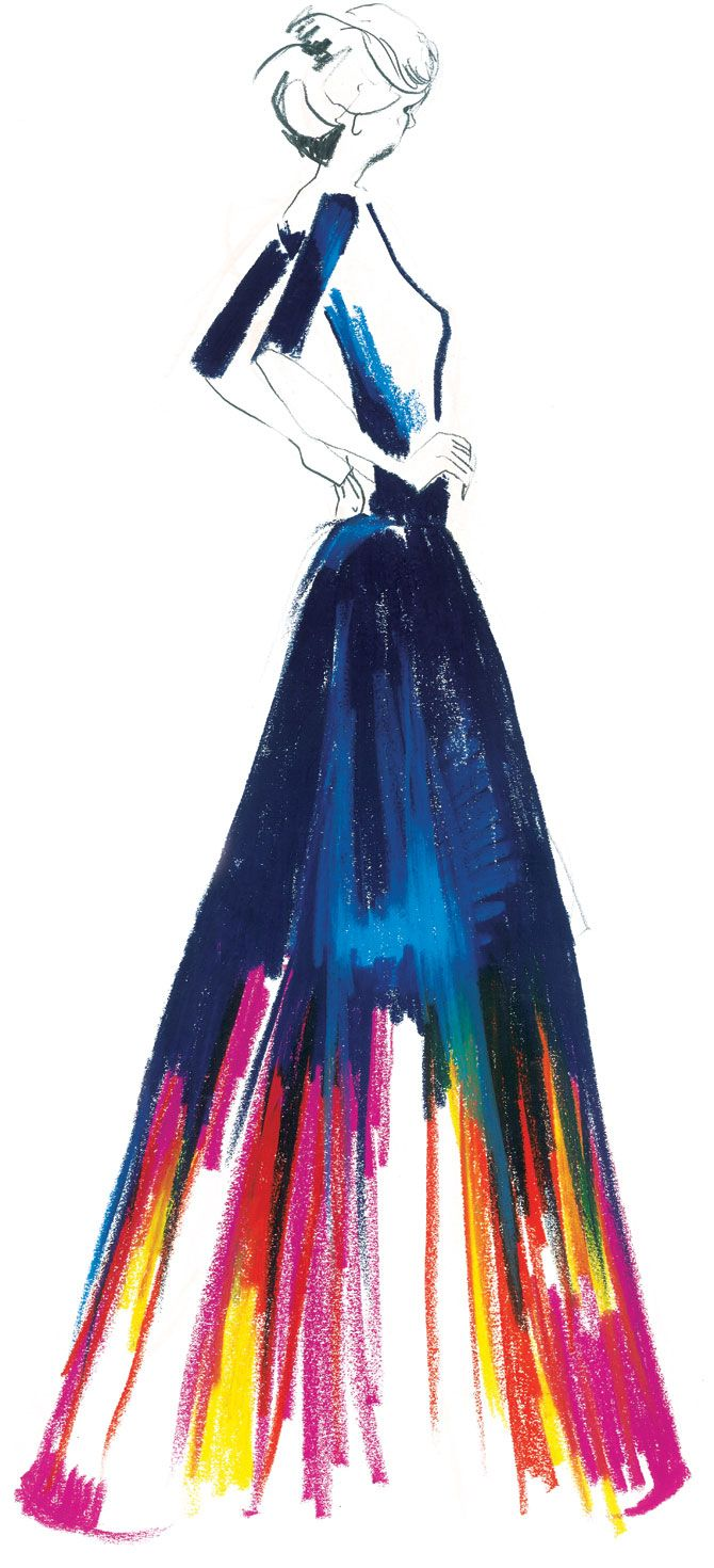 Jo Morley illustration Blue Dress