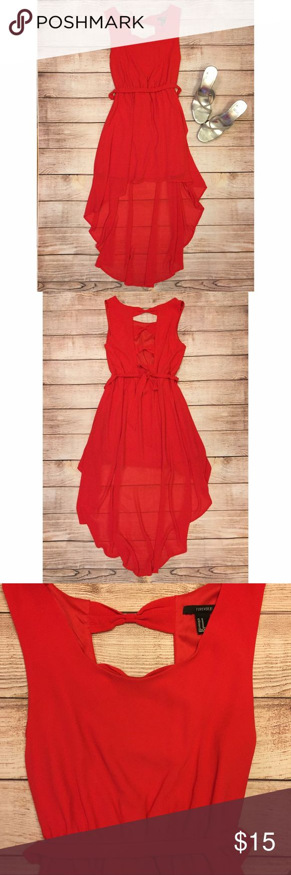 Red dress Red high low dress with bows on the back. Forever 21 Dresses High Low