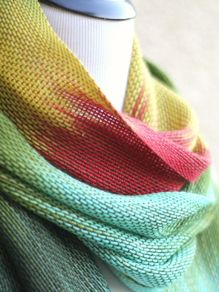 <p>Hand woven long scarf with gradually changing colors from green to mint, yellow and red. Amazing color shades and color variety. Unfortunately, I can't show it perfectly... #kgthreads
