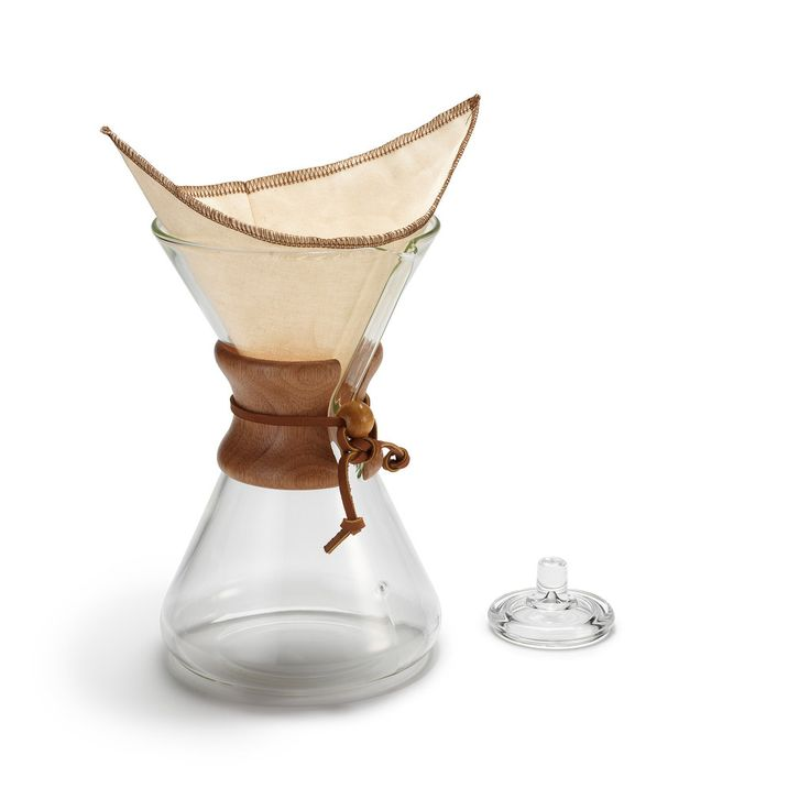 The eight-cup Chemex coffeemaker is hand-blown in small batches by highly skilled artisans in a process that's gone completely unchanged in 70+ years due to its