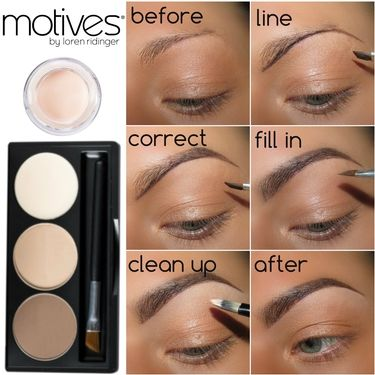 Filling in sparse eyebrows using the Brow Kit & Eye Base from Motives #perfectbrows