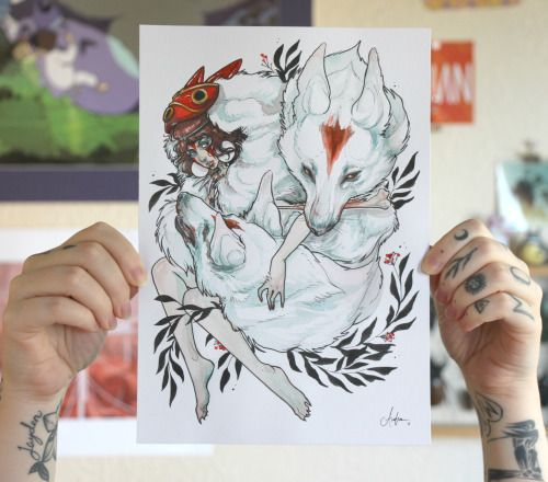 """""""Wolf Child"""" 7"""" x 10"""" Mixed media illustration by Audra Auclair"""