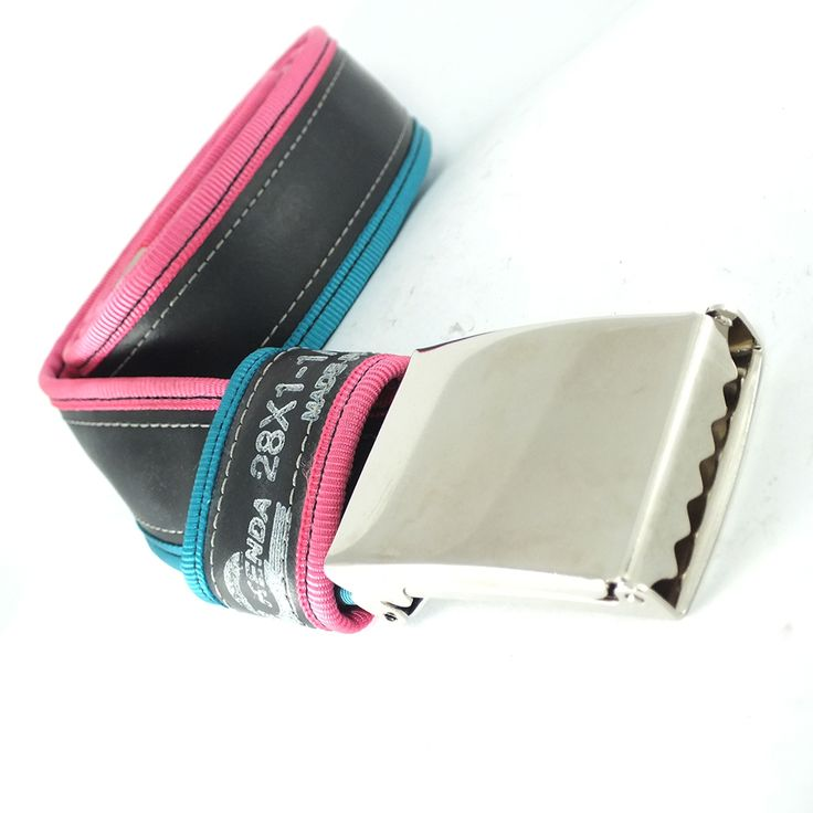 """Punctured"" inner tube belt, torquose-pink  --> felvarrom.com"