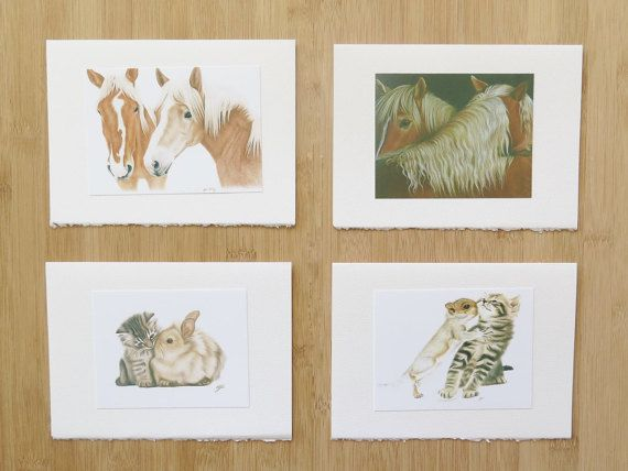 Set of 8 cards with animals in love  5 x 7 artistic by Polychromos