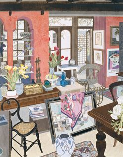 Cressida Campbell, Margaret Olley interior, 1992. Unique woodblock print. Private collection, Sydney. Similarities in the composition, colour, draping of fabrics and overall style of this work can be linked to 'The Pink Studio' by Henri Matisse. Matisse is a major source of inspiration for Cressida, which can be seen in the array of Matisse prints throughout her home.