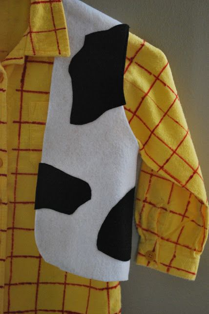 Woody vest, buy yellow shirt and use red fabric marker to stripe it