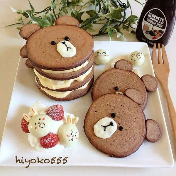 Bear chocolate pancakes - Pic only