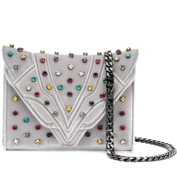 Elena Ghisellini jewel studded clutch bag ($1,093) ❤ liked on Polyvore featuring bags, handbags, clutches, grey, velvet clutches, jeweled purse, studded clutches, velvet handbags and jeweled handbags