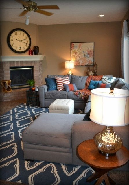 traditional grey living room casual orange blue and gray family room traditional 15371