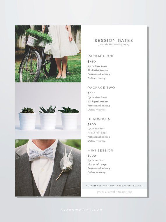 Photography Pricing Template, Photo Price Guide