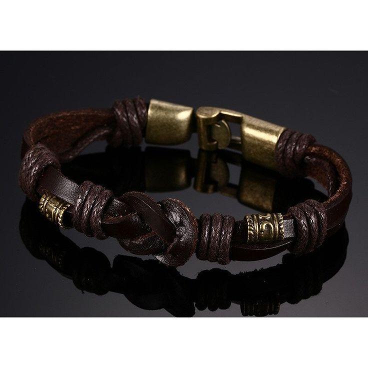 Rose Gold Stainless Steel Black Weave Genuine leather Bracelet For Men