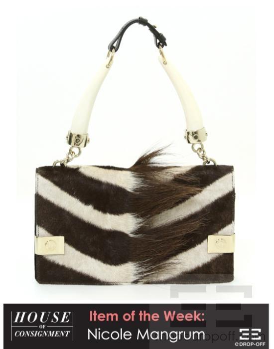 YSL Yves Saint Laurent Brown Pony Hair Zebra Print Mombasa Horn ...