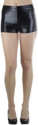 ToBeInStyle Women's Metalic Booty Shorts - Black - Small