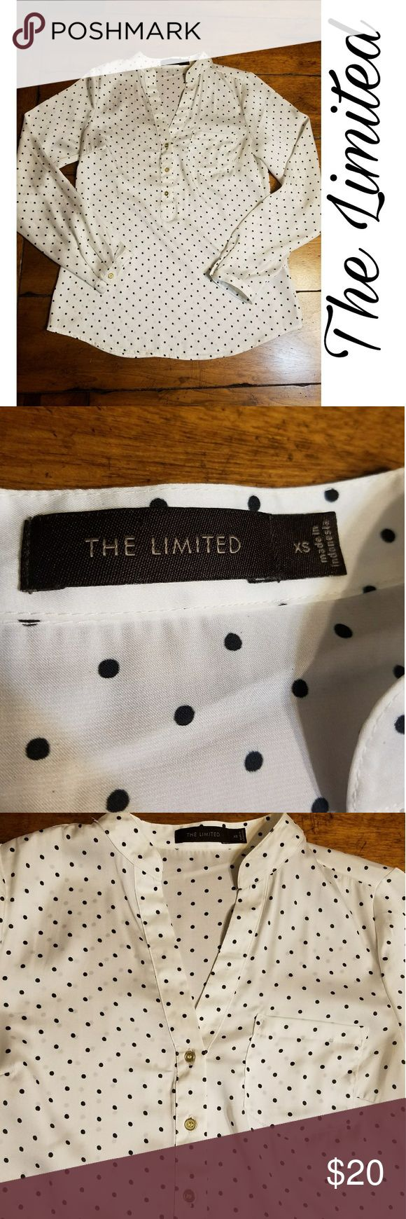 Long sleeve blouse by the limited xs Xs Semi sheer polka dot blouse by the limited. Long sleeve with gold buttons. Excellent condition. No flaws. I'm a top rated suggested user and love to give great deals. If you have any questions about my items don't hesitate to ask. Xoxo Ansley The Limited Tops Blouses