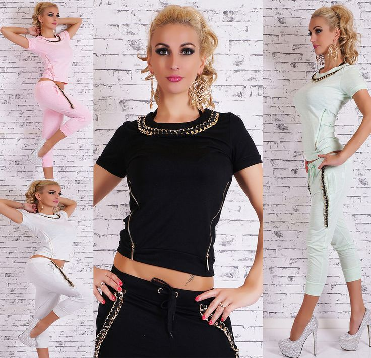 Sexy Women s 2-Piece Capri Full Tracksuit Joggings With Gold Chain Leisure Suit
