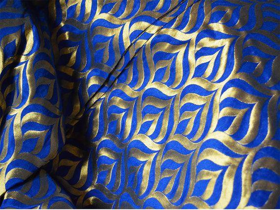 Silk Brocade Fabric in Royal Blue and Gold - Pure Banarasi Silk Fabric - jacquard fabric- Indian Silk, Wedding Dress Fabric by Yard