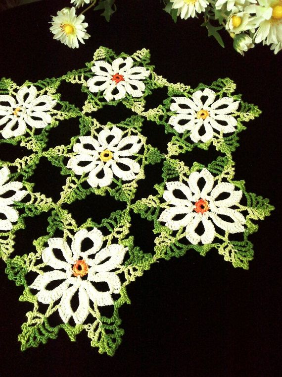 Crochet lace doily Lace table topper White doily Home by OlLace