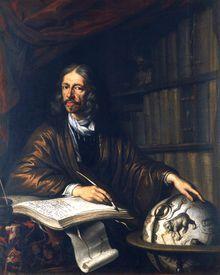 Johannes Hevelius, forma latinizada de Jan Heweliusz (28 de enero de 1611–28 de enero de 1687), fue un astrónomo de Polonia. Ha sido llamado el padre de la topografía lunar. Su interés se centró más en la astronomía, construyó un observatorio en su propia residencia, el cual llegó a incluir un telescopio abierto . Este astrónomo polaco llevó a cabo observaciones de las manchas solares, dedicó cuatro años a cartografiar la superficie de la Luna.