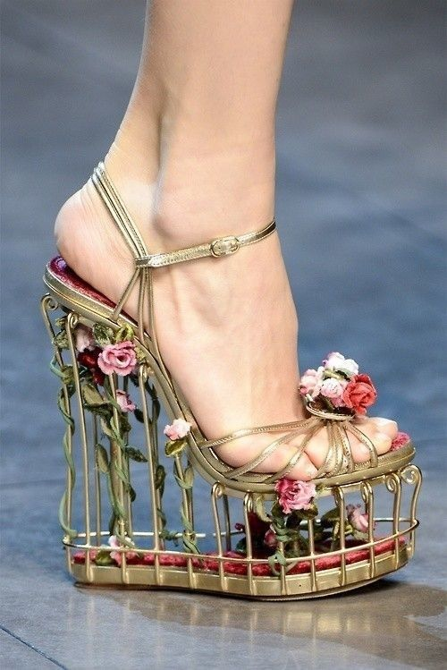 Alexander McQueen. I don't know how you would wear these without falling over. But they make me think of Sleeping Beauty.