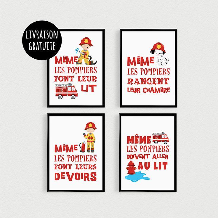 PROMO: Lot de 4 Posters 21x30cm citations POMPIERS pour enfant en pêle-mèle dans une chambre - Affiche