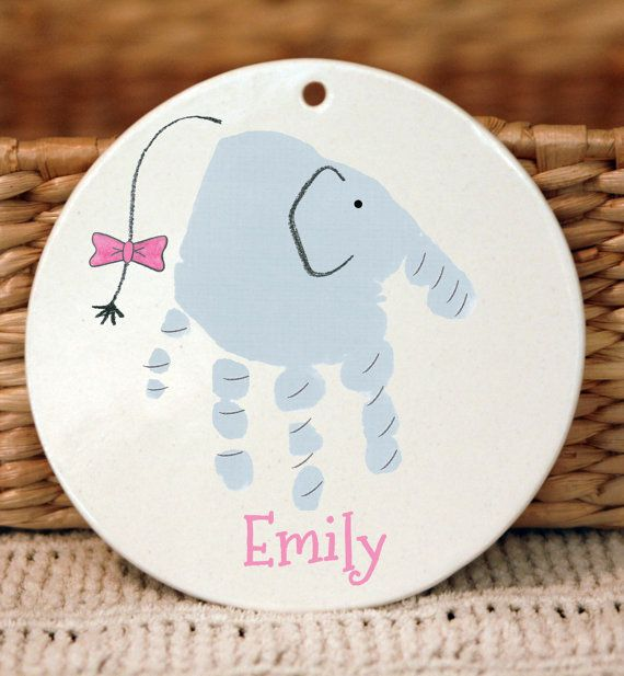 Elephant Handprint Ornament using your chil's by MyForeverPrints