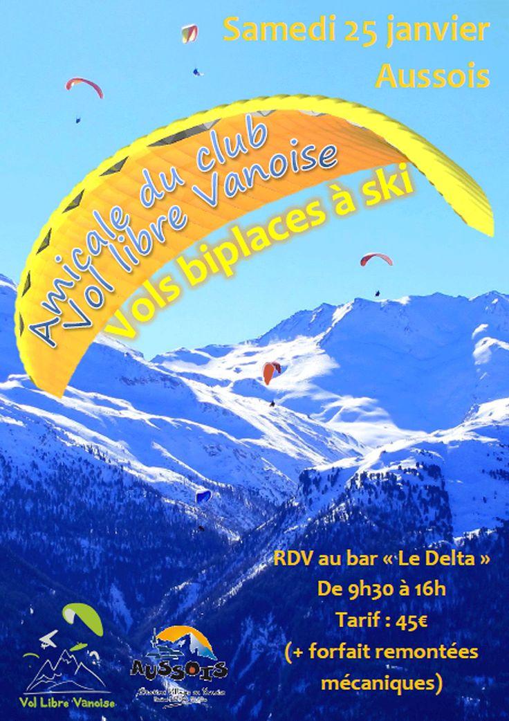 Rencontre amicale de parapentes et deltaplanes les 25 et 26 janvier 2014 - Baptêmes en parapente à 45 €.