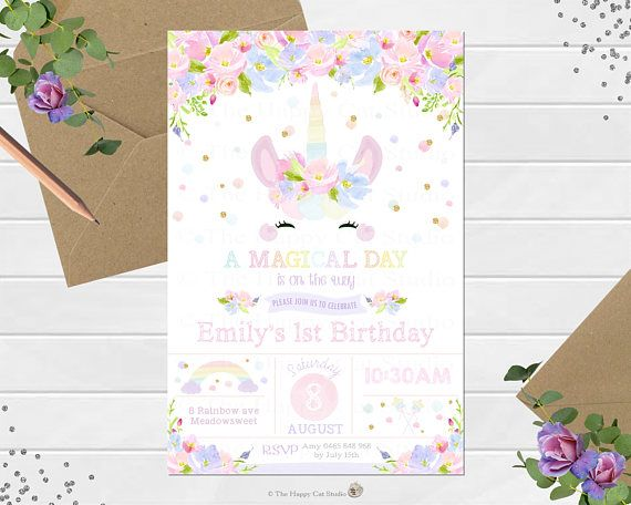Unicorn Personalized Birthday Party Invitations. Great for 1st birthday!  Can be customized for any age!
