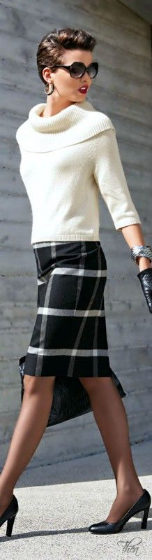 From the earrings to the gloves to the shoes. Love this SO much! Gorgeous! I don't think I can get away with that horizontal plaid skirt, but I love the cut.