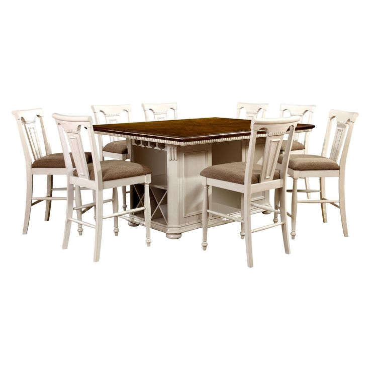 Sun & Pine 9pc Country Storage Counter Height Table Set - Cherry and White