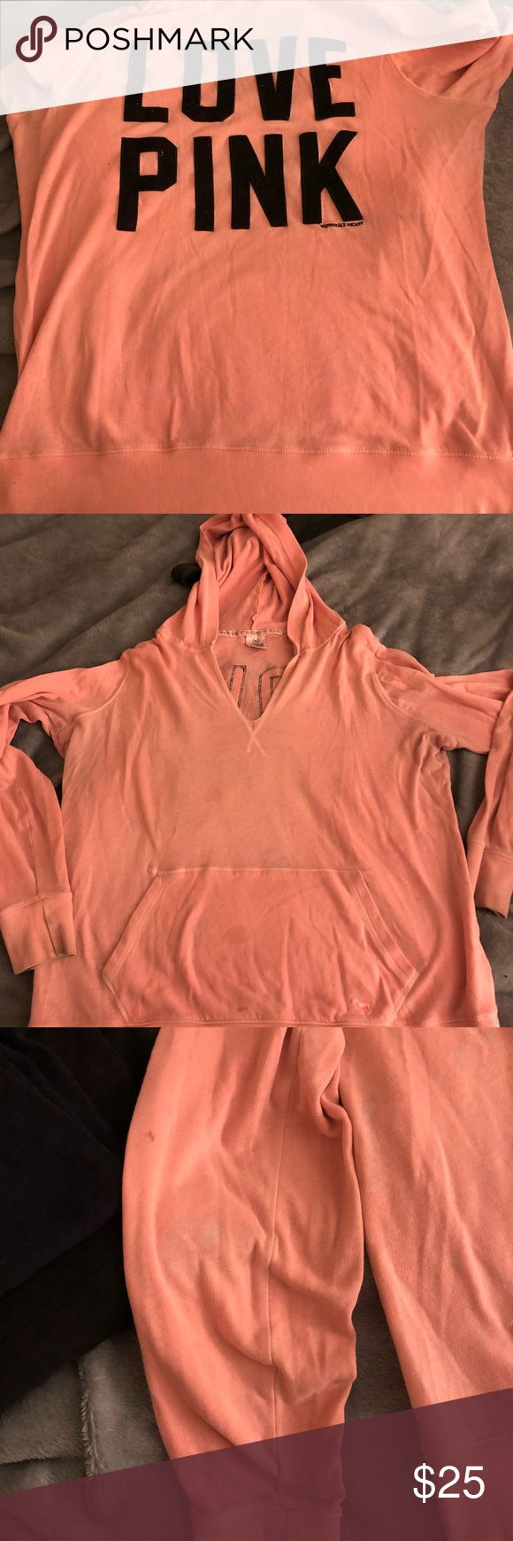PINK size large sweat shirt Very comfy bright pink light weight hoodie. Has a few bleach stains that aren't that noticeable since it's such a light pink. Has a few other stains that can prob come out with stain remover. No rips or holes still has lots of life left. PINK Victoria's Secret Tops Sweatshirts & Hoodies