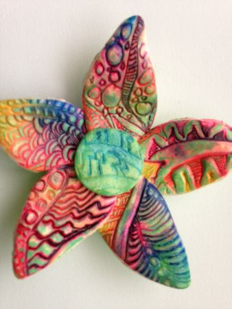 Flower power full of color polymer clay pendant