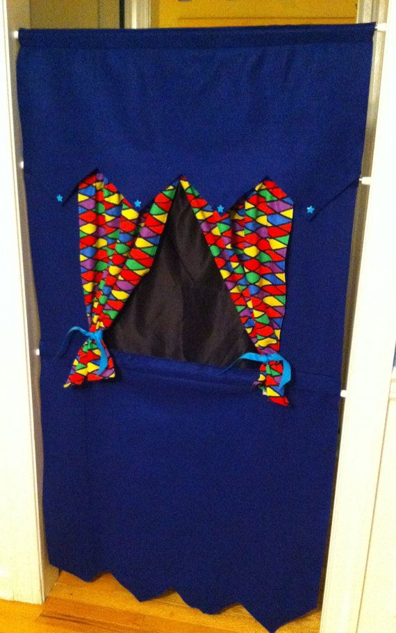 Blue Felt Doorway Puppet Theatre