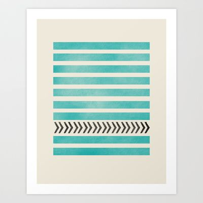 TEAL STRIPES AND ARROWS Art Print by Allyson Johnson - $20.00