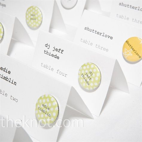 love this idea!  a badge for everone and their table number!  though probably not useful for your wedding