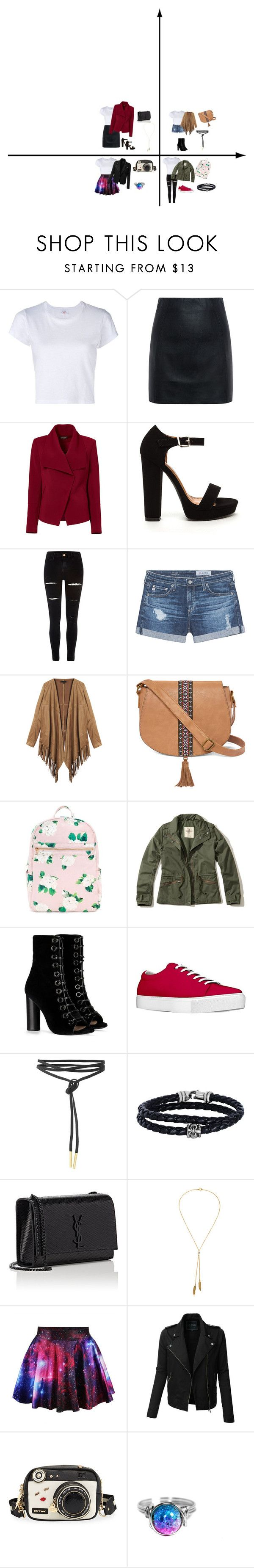 """""""1 morceau 4 outfits 1"""" by emy-belle on Polyvore featuring mode, RE/DONE, McQ by Alexander McQueen, Greylin, River Island, AG Adriano Goldschmied, T-shirt & Jeans, Hollister Co., Barbara Bui et Phillip Gavriel"""