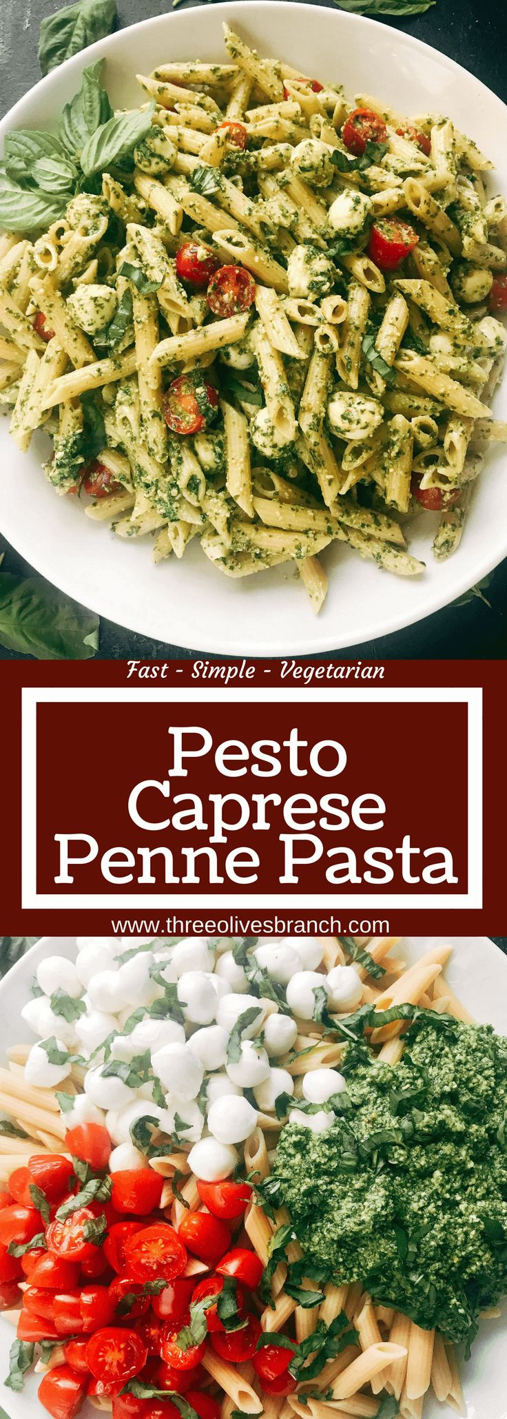 Less than 25 minutes to make this fresh basil pesto pasta with cherry tomatoes and fresh mozzarella cheese. A quick and simple Italian pasta recipe highlighting fresh caprese flavors. Vegetarian recipe but add chicken or sausage for meat lovers. Featuring Barilla ProteinPLUS pasta, this dinner recipe is nutritious and hearty, packed with protein, fiber, and Omega-3. Pesto Caprese Penne Pasta | Three Olives Branch | www.threeolivesbranch.com #BarillaProteinPLUS #wonderfulyourway #pasta #pesto…