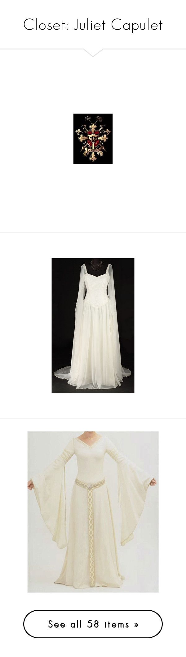 """Closet: Juliet Capulet"" by enchantedrose33 ❤ liked on Polyvore featuring capulet, dresses, medieval, wedding dresses, costumes, wedding, lord of the rings, gowns, vestidos and long dresses"