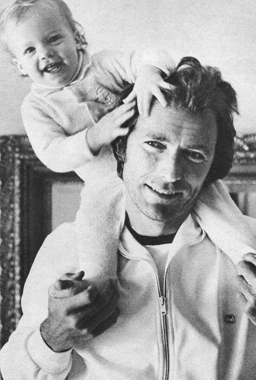 """ Clint Eastwood photographed with his kids Kyle and Alison, c. 1975. """