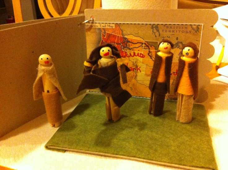Sacagawea, Lewis and Clark westward storyboard project. Clothespin people