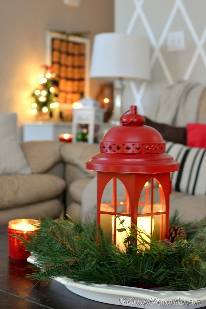 Christmas living room - red lantern on coffee table with Christmas countdown calendar in background