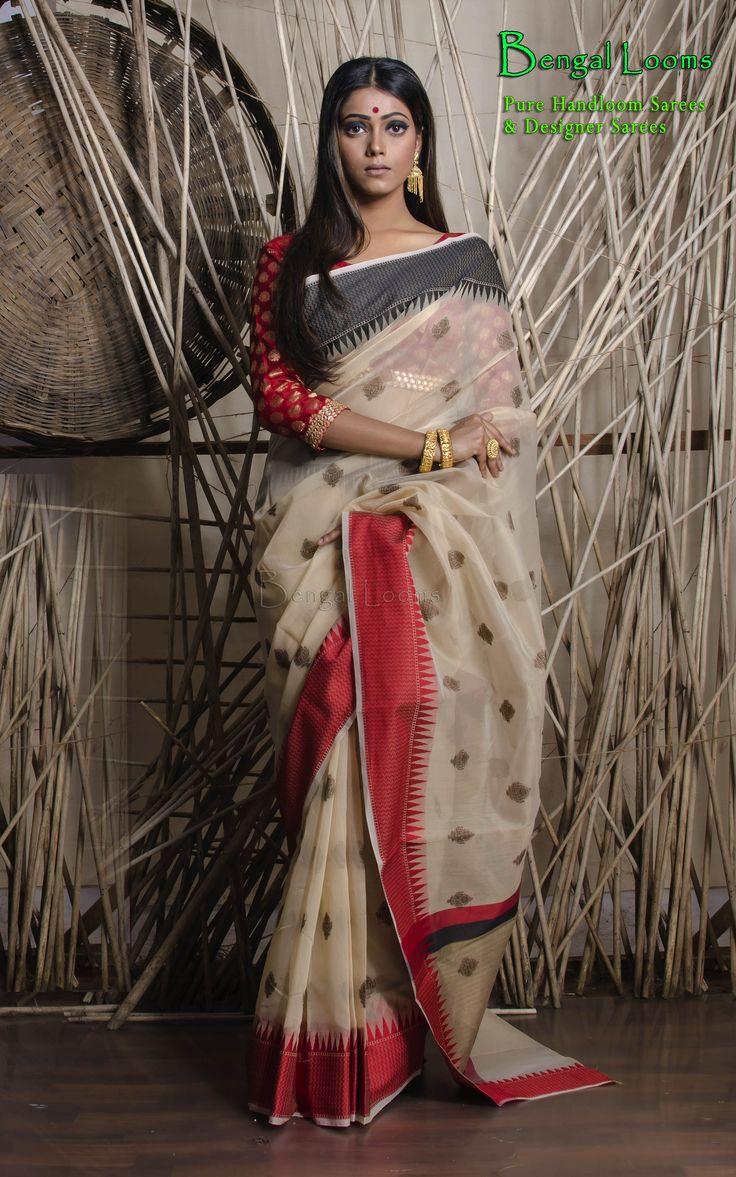 beautiful Chanderi Cotton Designer Banarasi Saree available for sale from Bengal Looms.