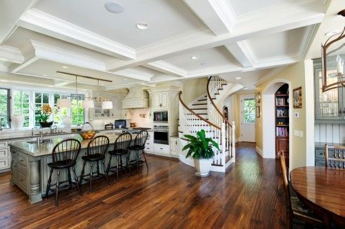 Darker wood floor. LOVE it. But will it show the dog scratches....?: Idea, Kitchens Design, Dreams Houses, Spirals Stairca, Traditional Kitchens, Rustic Kitchens, Floors Design, Johnson Construction, Open Kitchens