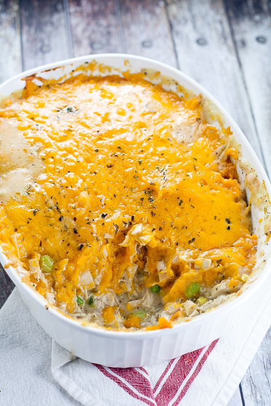 Sweet Potato Turkey Shepherd's Pie recipe by The Gracious Wife | with mashed sweet potatoes and turkey and veggies in a creamy gravy.Cozy, sweet and savory, this Sweet Potato Turkey Shepherd's Pie recipe is a great way to use up Thanksgiving leftovers in a warm delightful casserole.