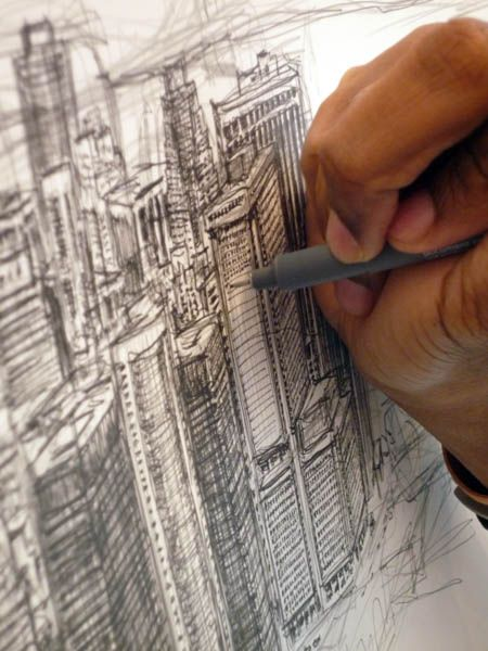 Stephen Wiltshire's stunning city panoramas drawn from memory. #pencildrawing #drawing #architecture