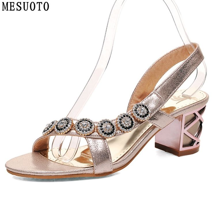 MESUOTO Square Heels Crystal Creeper Summer Style Fashion Womens Sandals Lady Slip On Blue Shoes Large Size 40-43